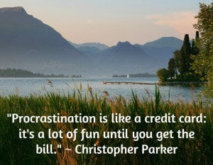 """Procrastination is like a credit card: it's a lot of fun until you get the bill."" ~ Christopher Parker"