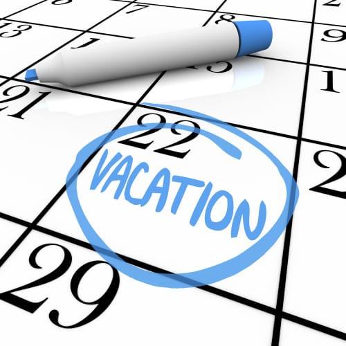 Planning a Vacation? Calendar - Vacation Day Circled