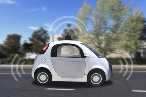 Is that a driverless car in the next lane?