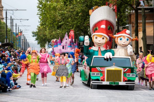 Adelaide, Australia - November 12, 2016: More than 250.000 came to the city centre to see 172 colourful sets of floats, bands, dancers, clowns and Father Christmas. The Credit Union Christmas Pageant is one of the biggest events in South Australia