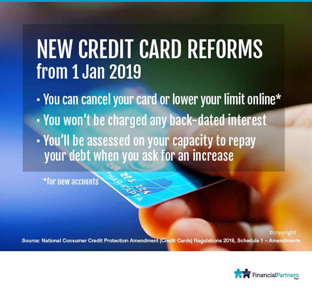 New credit card reforms from 1 Jan 2019
