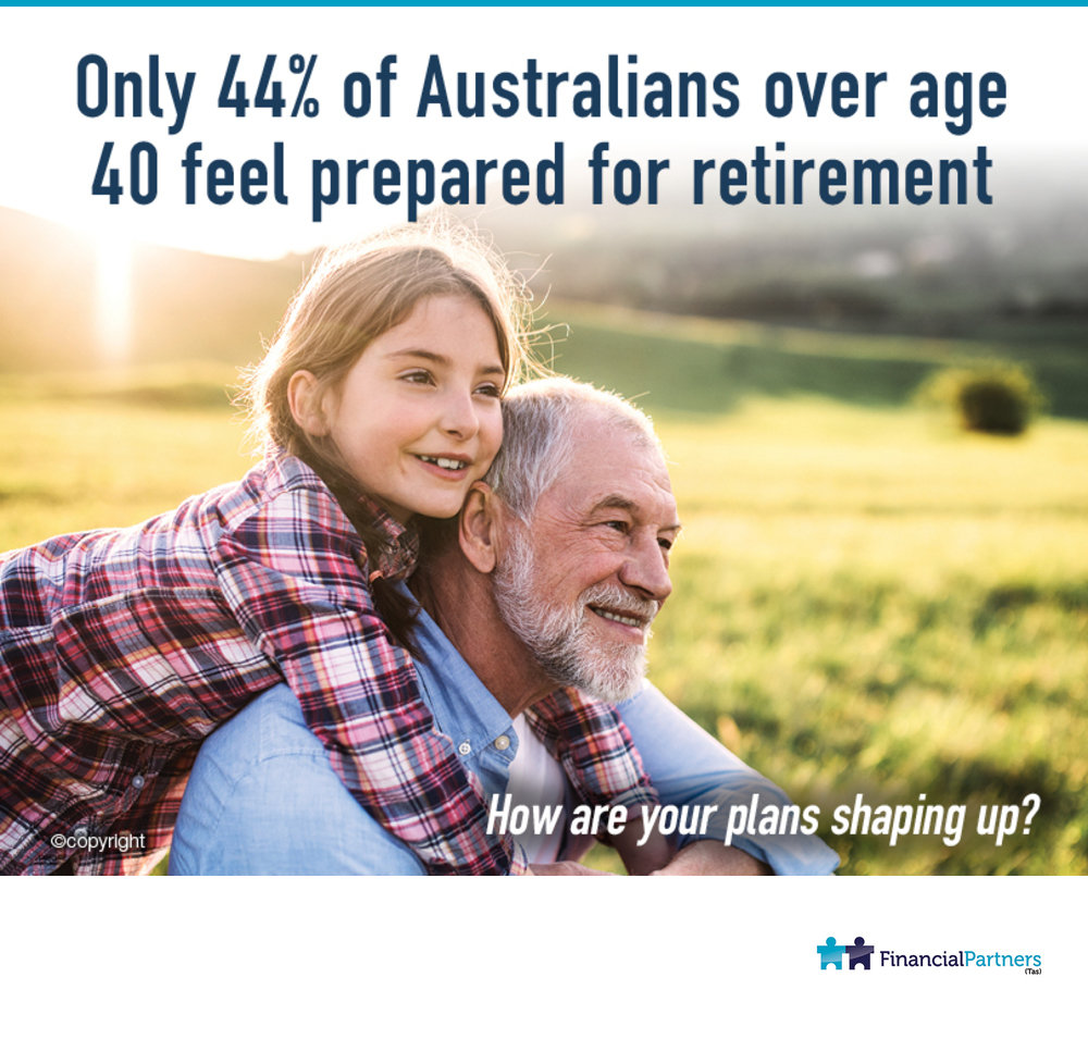 Only 44% of Australian over age 40 feel prepared for retirement. How are your plans shaping up?